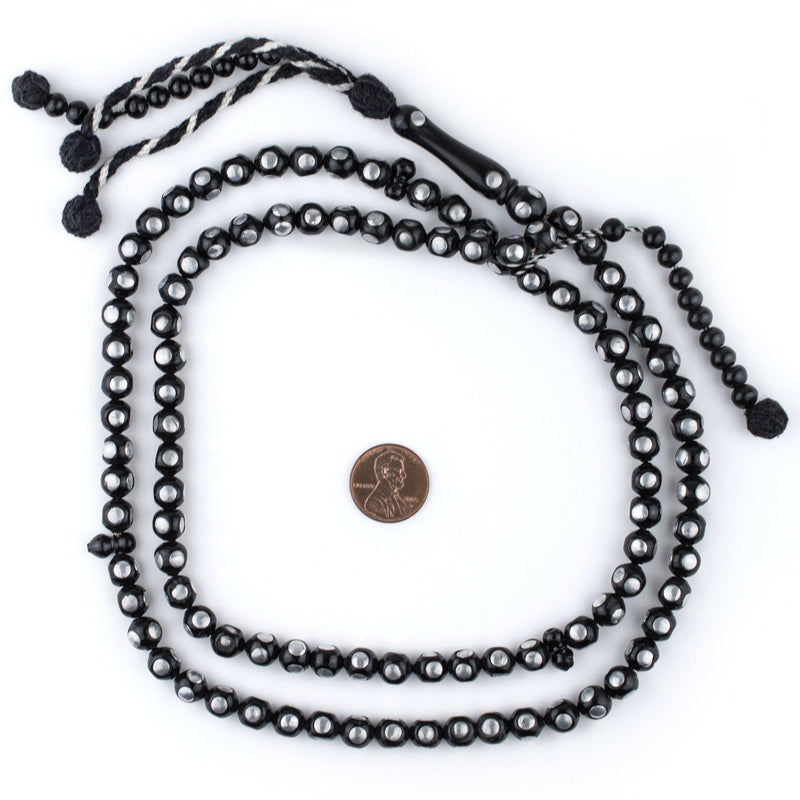 Dot Silver-Inlaid Arabian Prayer Beads (8mm) - The Bead Chest