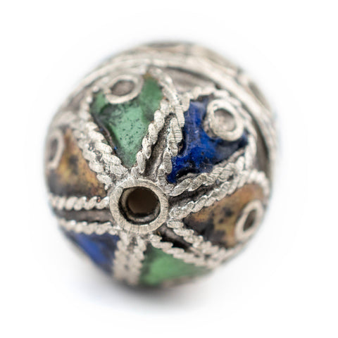 Image of Artisanal Enameled Round Silver Berber Beads (3 pieces) - The Bead Chest