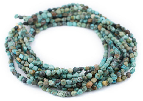 Image of Earth Aqua Turquoise Nugget Beads (5mm) - The Bead Chest