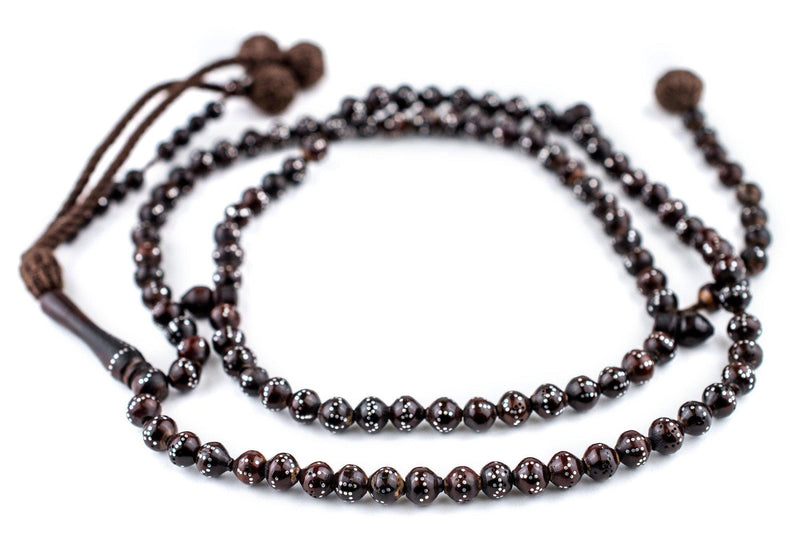 "Brown Silver-Inlaid ""Names of Allah"" Arabian Prayer Beads (6mm) - The Bead Chest"