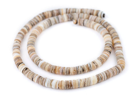 Rustic Matte Natural Shell Heishi Beads (8mm) - The Bead Chest
