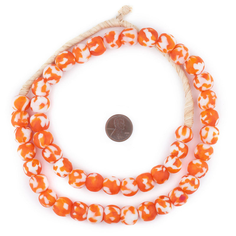 Pumpkin Orange  Fused Recycled Glass Beads (14mm)