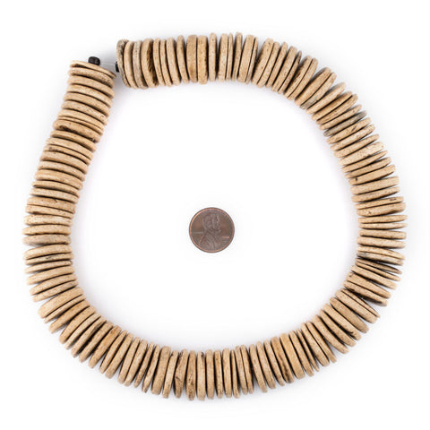 Cream Disk Coconut Shell Beads (20mm) - The Bead Chest