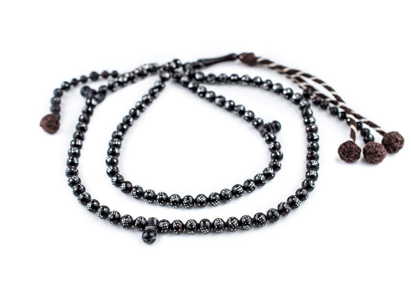 "Black Silver-Inlaid ""Diamond Design"" Arabian Prayer Beads (6mm) - The Bead Chest"