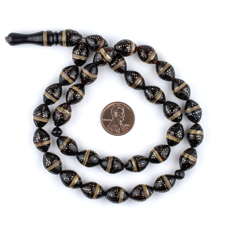 Brass-Inlaid Oval Arabian Prayer Beads - The Bead Chest
