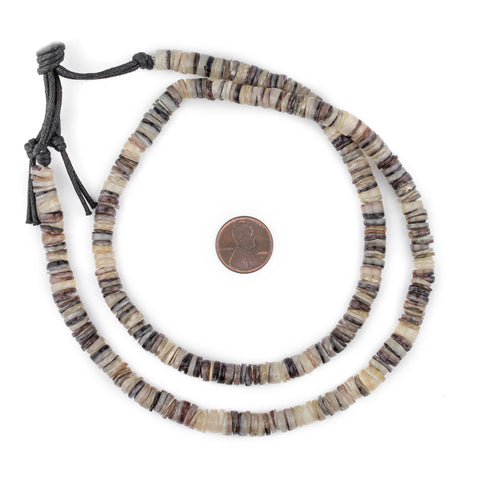 Matte Black & White Shell Heishi Beads (8mm) - The Bead Chest