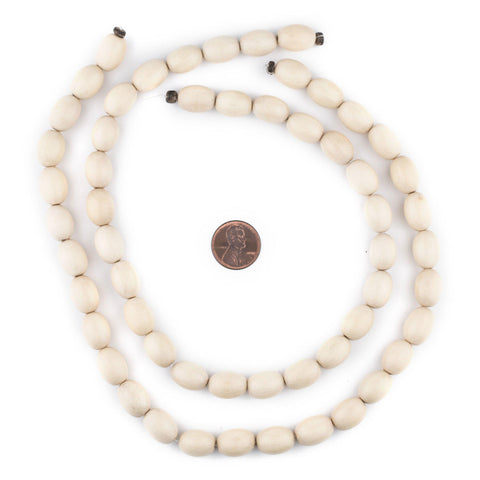 Image of Cream Oval Natural Wood Beads (15x10mm) - The Bead Chest