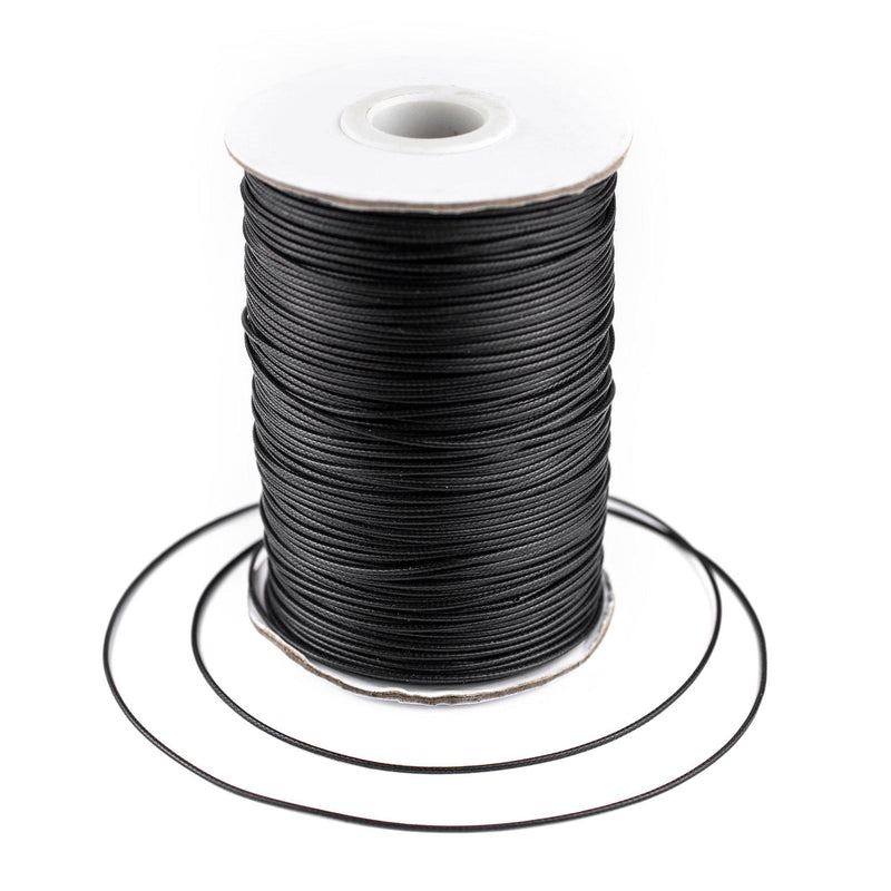 1mm Black Waxed Polyester Cord (500ft) - The Bead Chest