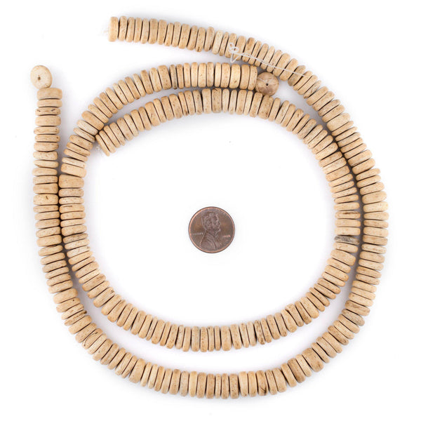 Cream Disk Coconut Shell Beads (10mm)
