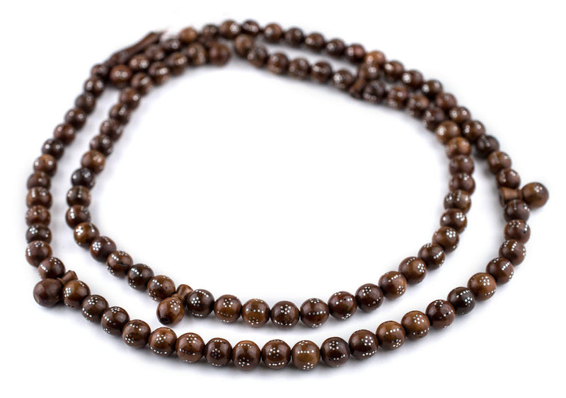 Brown Silver-Inlaid Round Arabian Prayer Beads (10mm) - The Bead Chest