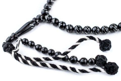 "Silver-Inlaid ""Diagonal Design"" Black Coral Arabian Prayer Beads (6mm) - The Bead Chest"