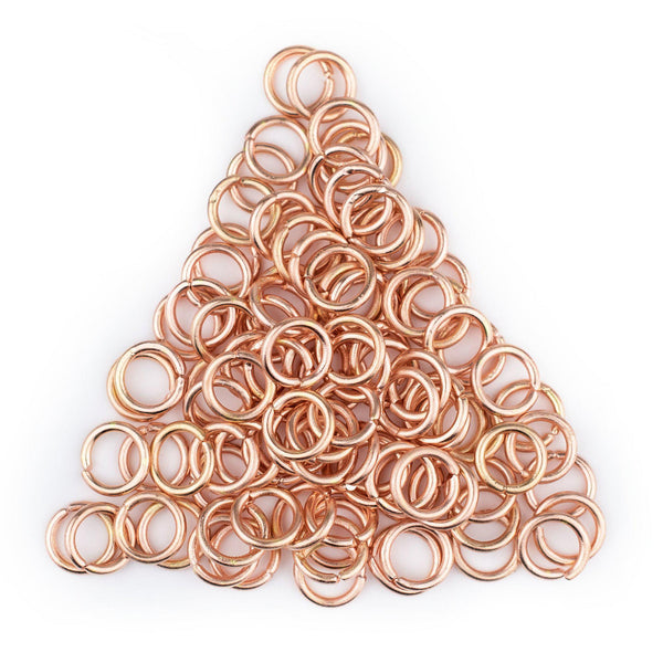 8mm Copper Round Jump Rings (Approx 100 pieces)