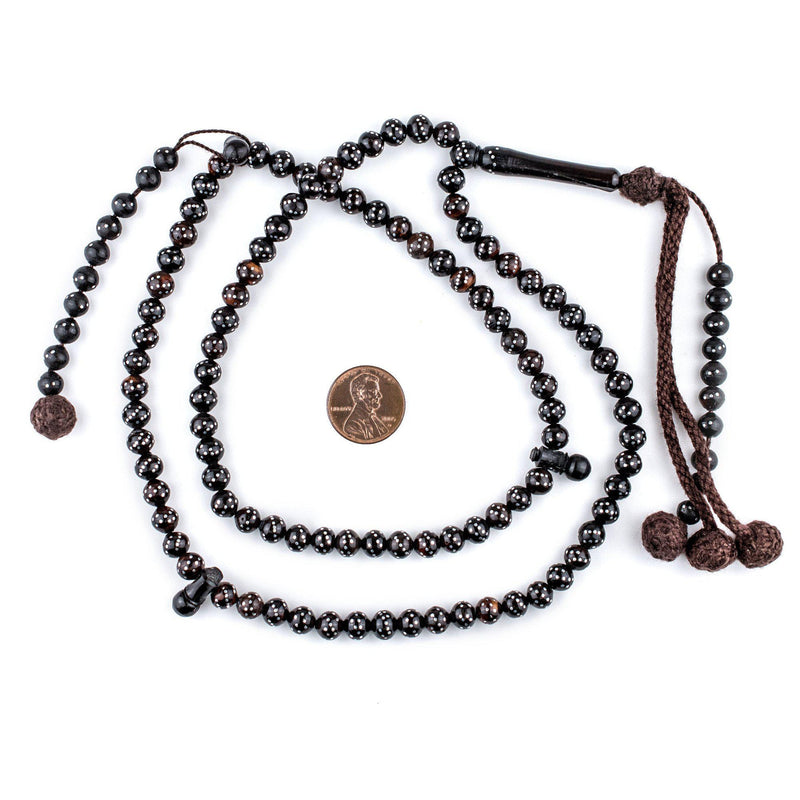 "Black Silver-Inlaid ""Diagonal Design"" Arabian Prayer Beads (6mm) - The Bead Chest"