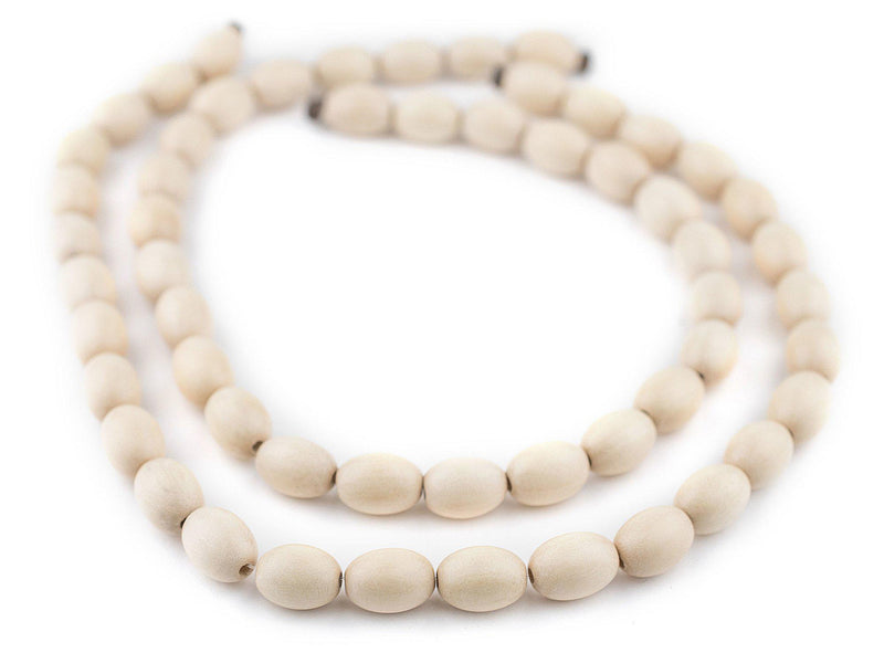 Cream Oval Natural Wood Beads (15x10mm) - The Bead Chest