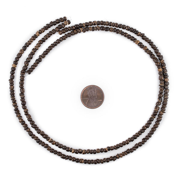 Chocolate Nugget Coconut Shell Beads (3-4mm)