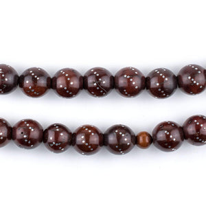 Cherry Red Silver-Inlaid Round Arabian Prayer Beads (10mm) - The Bead Chest
