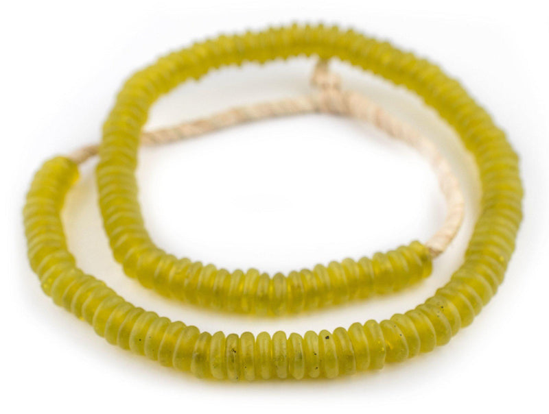 Corn Yellow Rondelle Recycled Glass Beads (Smooth) - The Bead Chest
