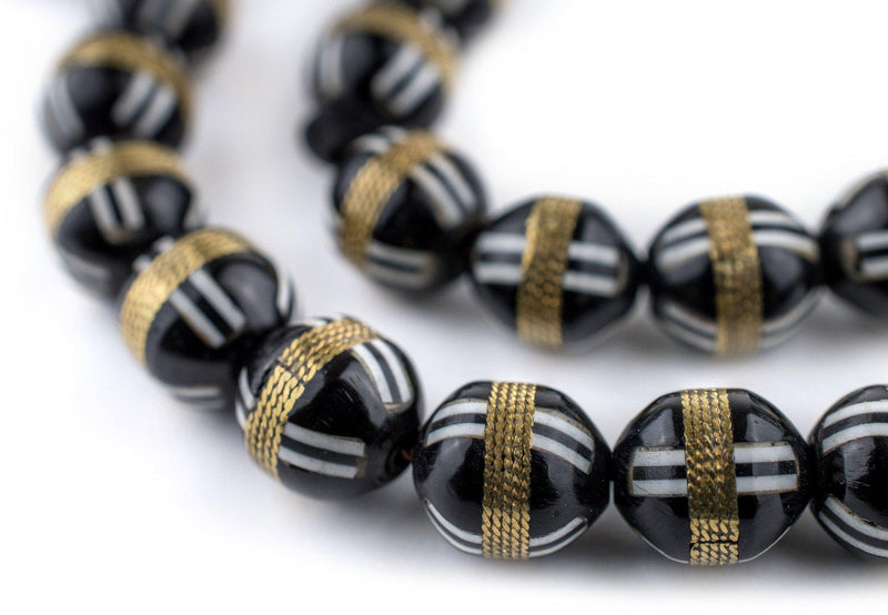 Black French Cross Round Brass-Inlaid Arabian Prayer Beads - The Bead Chest