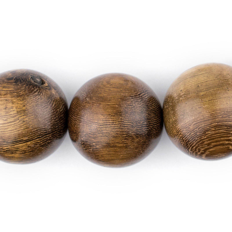 Round Grainy Natural Wood Beads (24mm) - The Bead Chest
