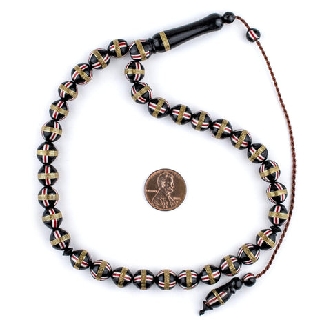 Image of Red French Cross Round Brass-Inlaid Arabian Prayer Beads - The Bead Chest