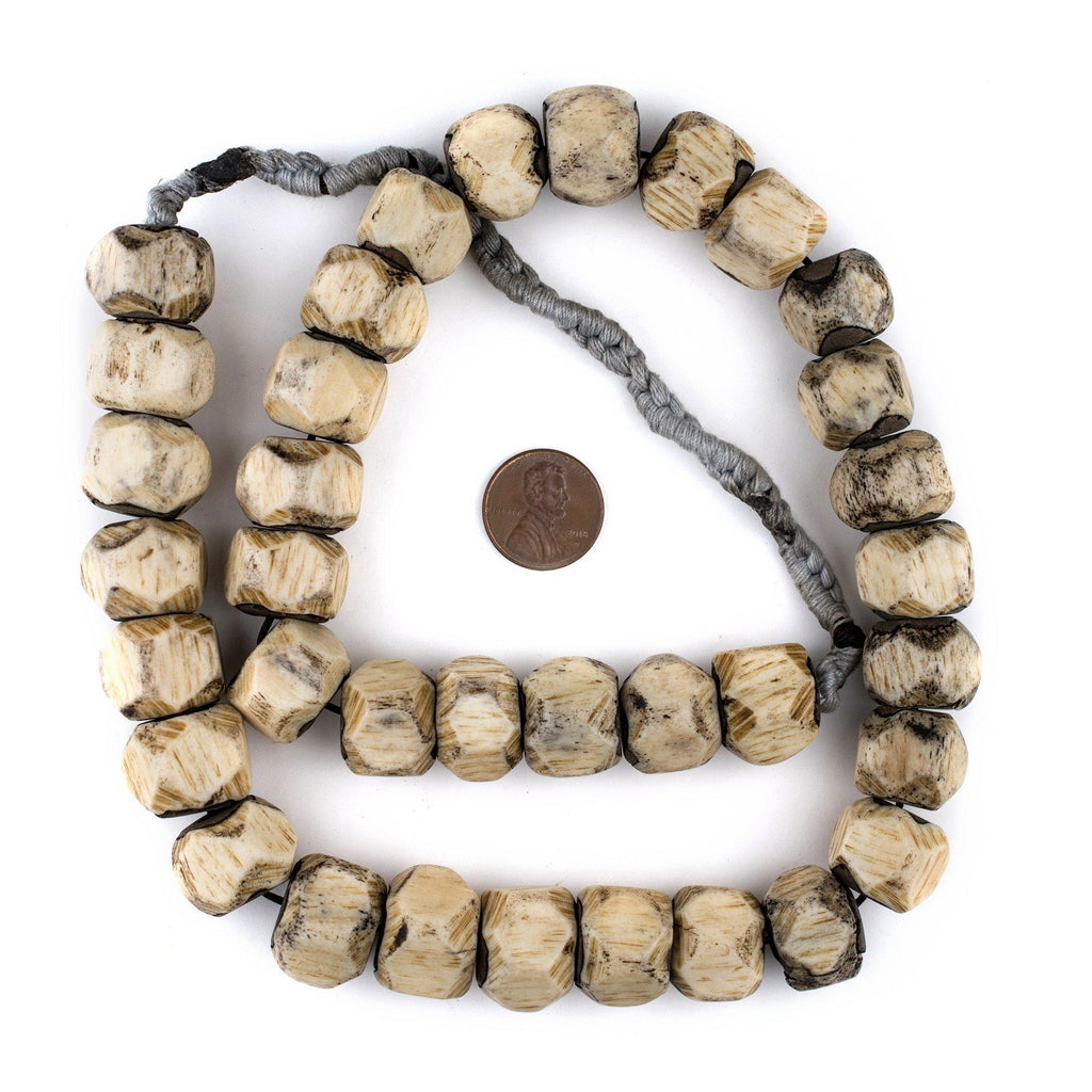 Faceted Grey Bone Beads (14x17mm) - The Bead Chest