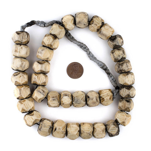 Image of Faceted Grey Bone Beads (14x17mm) - The Bead Chest