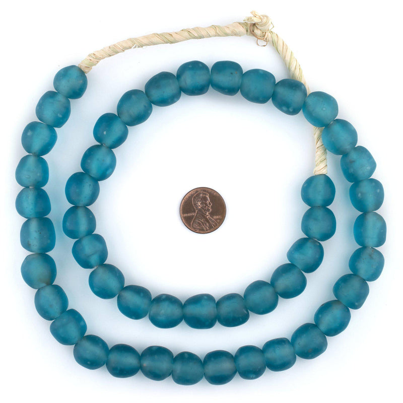 Dark Aqua Recycled Glass Beads (14mm) - The Bead Chest