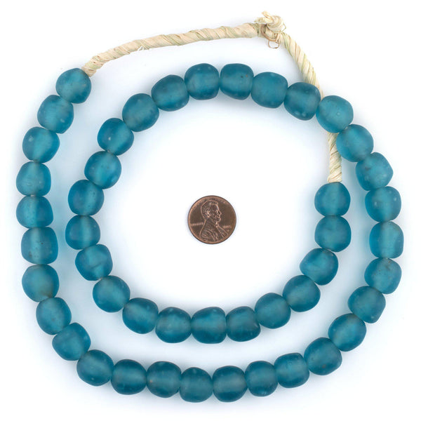 Dark Aqua Recycled Glass Beads (14mm)