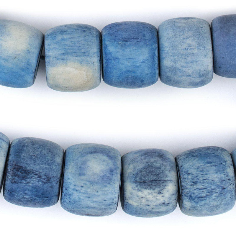 Blue Cylindrical Bone Beads (15x18mm) - The Bead Chest