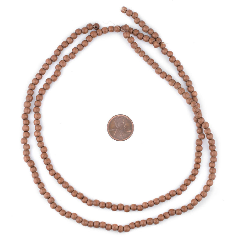 Light Brown Round Natural Wood Beads (5mm) - The Bead Chest