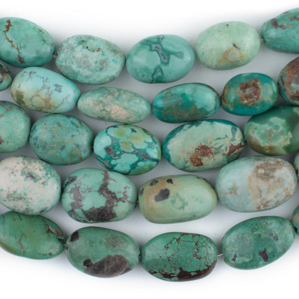 Aqua Turquoise Stone Oval Beads (14x8mm) - The Bead Chest