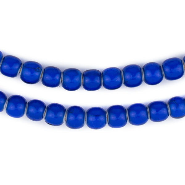 Jumbo Navy Blue White Heart Beads (8mm) - The Bead Chest