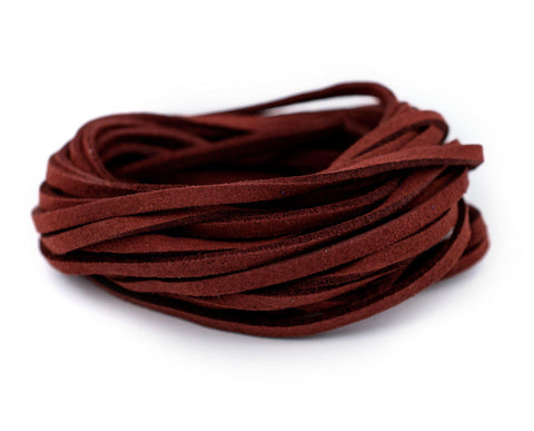 3mm Flat Burgundy Faux Suede Cord (15ft)