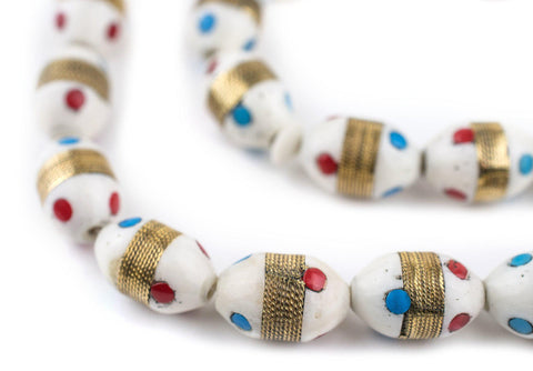 Brass-Inlaid Camel Bone Arabian Prayer Beads (14x9mm) - The Bead Chest