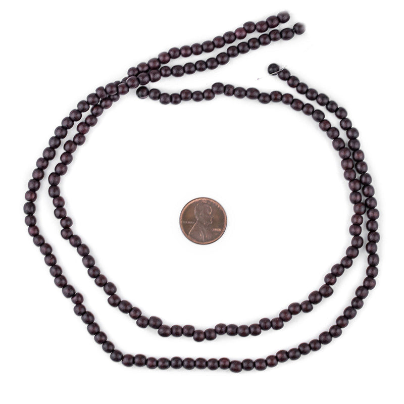 Dark Brown Round Natural Wood Beads (5mm) - The Bead Chest