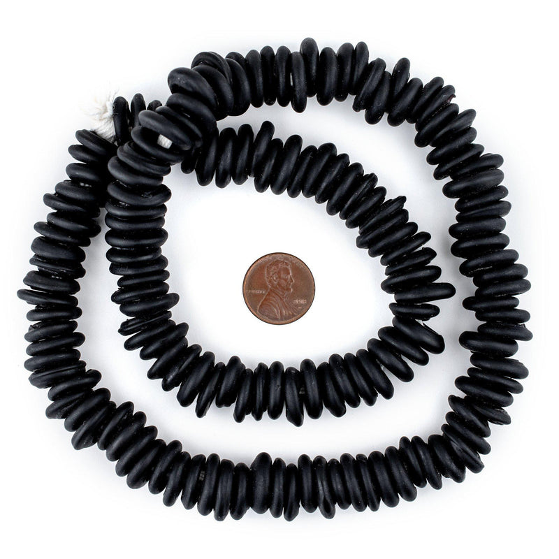 Black Annular Wound Dogon Beads (14mm)