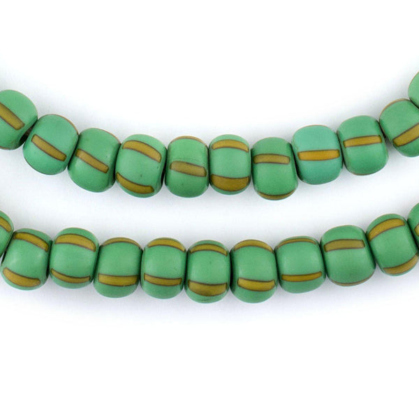 Matte Green & Yellow Ghana Chevron Beads (8mm) - The Bead Chest