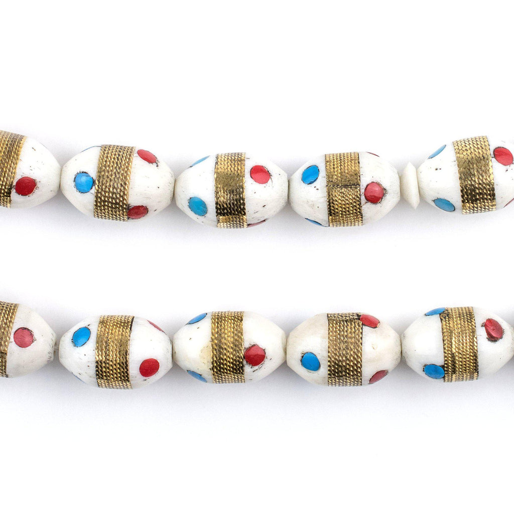 Turquoise /& White Color Inlaid Oval Arabian Prayer Beads 14x9mm Middle East Wood