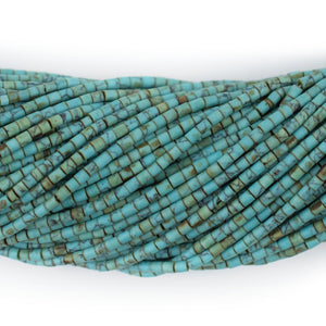 Blue Toned Turquoise-Style Afghani Stone Cylinder Beads (2mm) - The Bead Chest