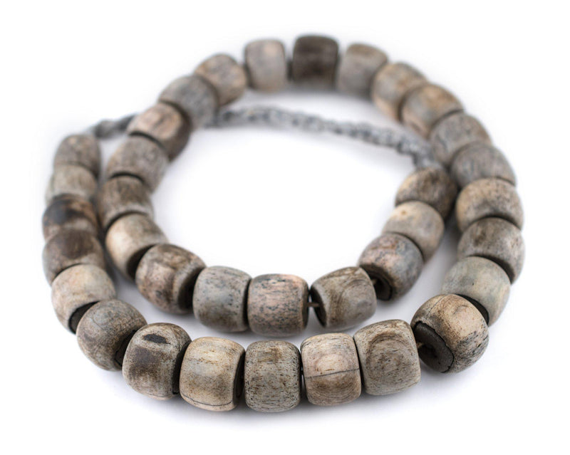Grey Cylindrical Bone Beads (15x18mm) - The Bead Chest