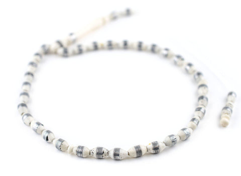 Image of Silver-Inlaid Camel Bone Arabian Prayer Beads (10x6mm) - The Bead Chest