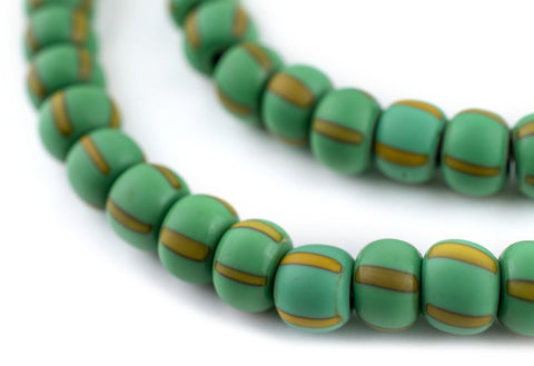Image of Matte Green & Yellow Ghana Chevron Beads (8mm) - The Bead Chest