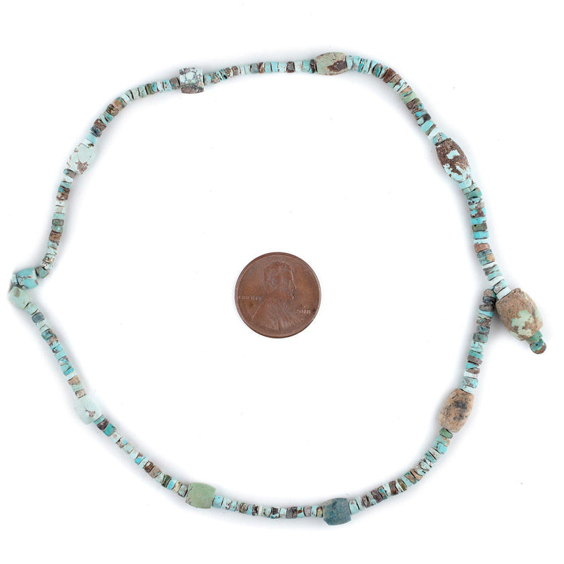 Persian Turquoise Beads, Single 24 Inch Strand