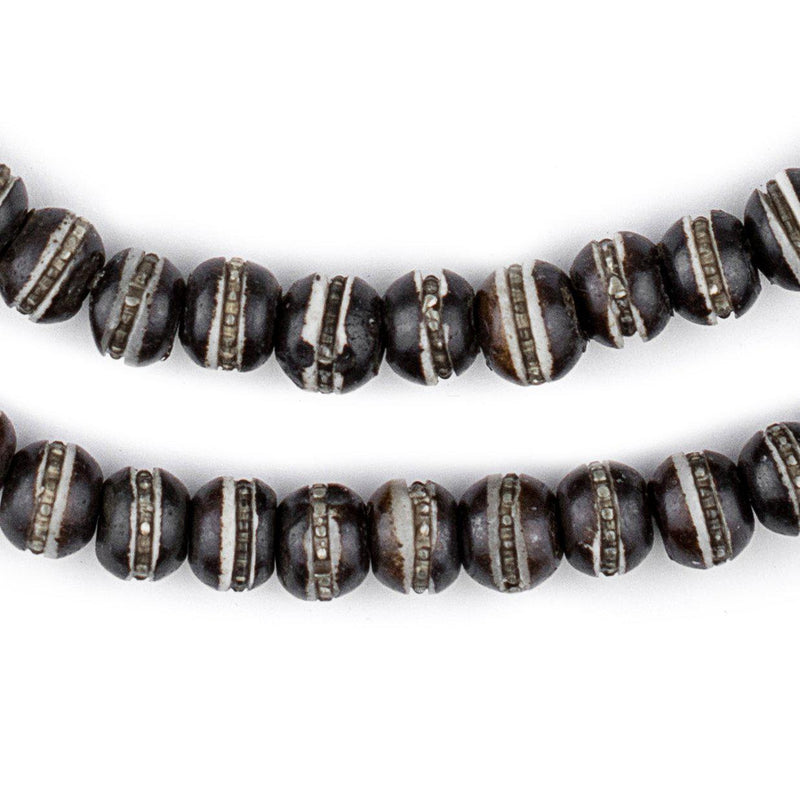 Silver-Inlaid Black Bone Mala Beads (8mm) - The Bead Chest