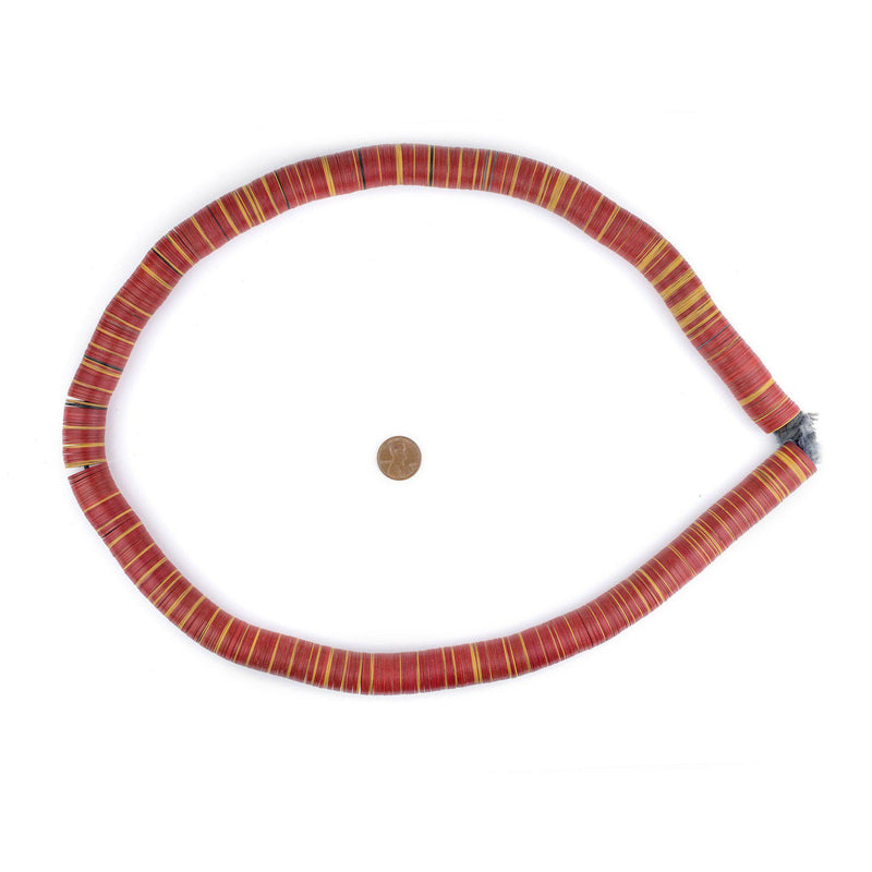Red & Yellow Vintage Vinyl Phono Record Beads (18mm) - The Bead Chest