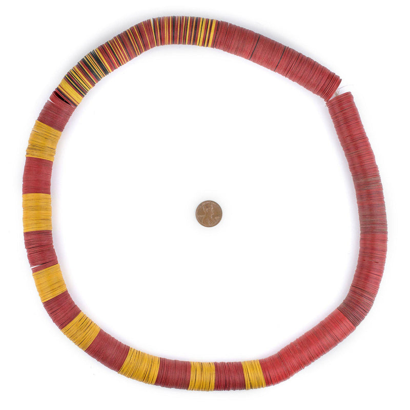 Red & Yellow Vintage Vinyl Phono Record Beads (20mm) - The Bead Chest