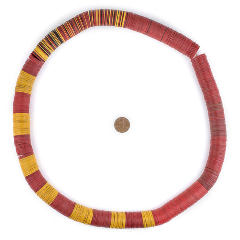 Image of Red & Yellow Vintage Vinyl Phono Record Beads (20mm) - The Bead Chest