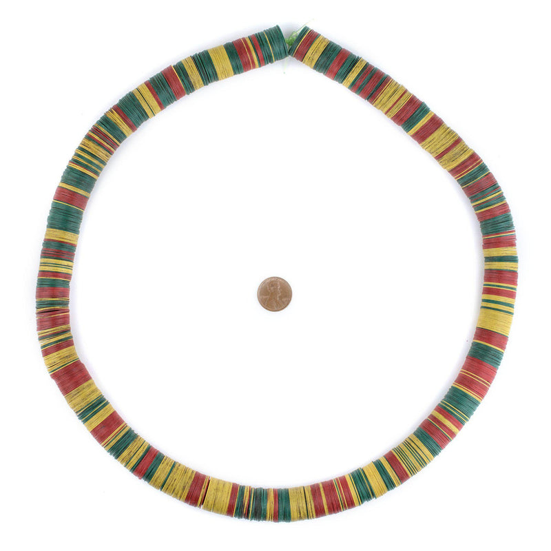 Red, Yellow & Green Vintage Vinyl Phono Record Beads (18mm) - The Bead Chest