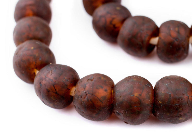 Amber Black Swirl Recycled Glass Beads (18mm) - The Bead Chest