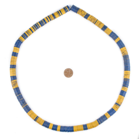 Blue & Yellow Vintage Vinyl Phono Record Beads (12mm) - The Bead Chest